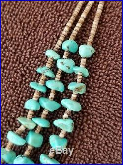 Old Pawn Pueblo Indian Turquoise Sterling Silver Bench Bead Heishi Necklace