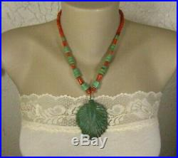Old Pawn Santo Domingo Kewa Carved Green Turquoise Coral Heishi Necklace