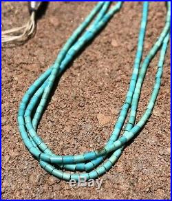 Old Pawn Santo Domingo Sleeping Beauty Turquoise Heishi Sterling Silver Necklace