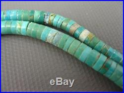 Old Pawn Santo Domingo Sterling Graduated Turquoise Heishi Necklace 16.5 Inches