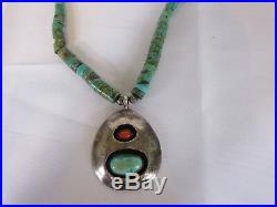 Old Pawn Sterling Silver Santo Domingo Turquoise Heishi Bench Bead Necklace 15