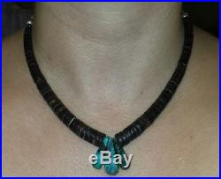 Old Pawn Turquoise, Shell & Benchmade Sterling Silver Heishi Necklace WithJaclas