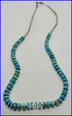 Old Pawn Vintage Navajo Turquoise Disc Heishi 19 String Paua Shell Necklace