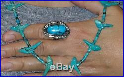 Old Pawn Zuni Carved Kingman Turquoise Bird Fetish& Sterling Heishi Necklace31