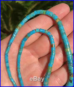 Old Santo Domingo Graduated Rolled Blue Gem Turquoise Heishi Bead Necklace 17.5