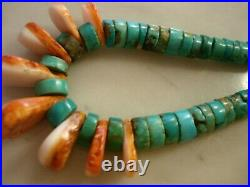 Old Santo Domingo Morenci Turquoise Heishi Spiny Shell Necklace