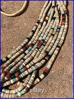 Old Santo Domingo NAVAJO 10 Strand OLIVE SHELL & CORAL TURQUOISE Heishi Necklace