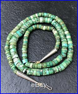 Old Santo Domingo Sterling Silver King's Manassa Turquoise Heishi Necklace 24.5