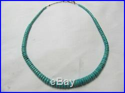 Old Unsigned Santo Domingo Turquoise Disc Heishi Necklace