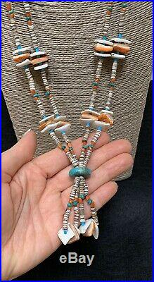 Old VTG Pawn Santo Domingo Heishi Turquoise Coral Spiny Oyster Bead Necklace
