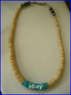 Old Vintage Native American Navajo Turquoise & Heishi Necklace NM