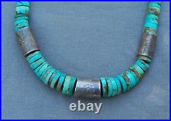 Old Vintage Santo Domingo Rolled Turquoise Heishi Necklace Silver Barrel Beads