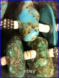 Old Vintage Sterling Silver Heavy Natural Turquoise Heishi Necklace 155.7 GR 925