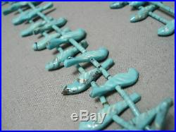 One Of Best Hand Carved Bird Vintage Navajo Turquoise Heishi Necklace Old