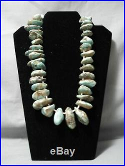 One Of Best Vintage Navajo Chunky Royston Turquoise Heishi Necklace Old