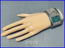 One Of The Best Ever Vintage Navajo Turquoise Heishi Sterling Silver Bracelet