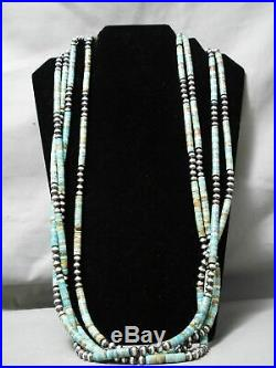 One Of The Best Vintage Navajo Royston Turquoise Heishi Sterling Silver Necklace