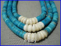 One Of The Best Vintage Santo Domingo Navajo Turquoise Heishi Necklace Old