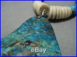 One Of The Biggest Vintage Navajo Turquoise Heishi Sterling Silver Necklace