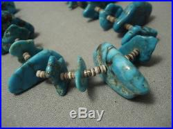 Opulent Vintage Navajo Bisbee Turquoise Heishi Necklace Old Pawn