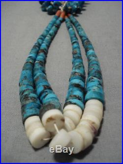 Opulent Vintage Navajo Turquoise Heishi Native American Necklace Old