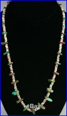 PRICE REDUCTION c. 1920 Navajo Turquoise and Heishi Necklace with Silver Beads
