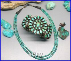 Petite Old Primitive Handmade Navajo Design Turquoise Child's Heishi Necklace
