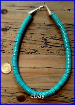 Pretty Blue Very Massive 12+ Mm. Turquoise Sterlng Heishi Necklace 21 Long