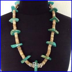 Primitive Vintage NAVAJO Thick HEISHI & TURQUOISE Slab NECKLACE