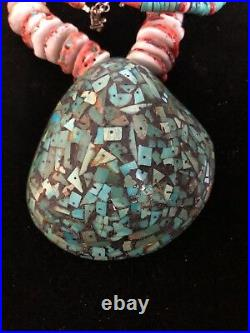Pueblo Inlaid Shell And Heishi Necklace 180 Gr