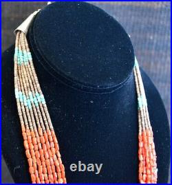 RED CORAL NUGGETS TURQUOISE PENN SHELL HEISHI NECKLACE 28 8STRAND Santo Domingo