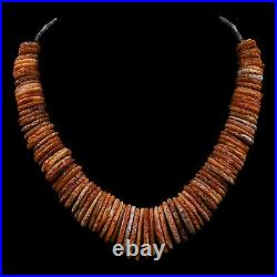 Rare Handmade Navajo Old Pawn Graduated Natural Spiny Oyster Shell 18' Necklace