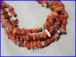Rare Vintage Navajo Coral Heishi Turquoise Sterling Silver Necklace