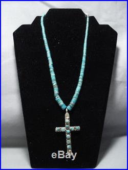Rare! Vintage Navajo Green Turquoise Heishi Sterling Silver Cross Necklace