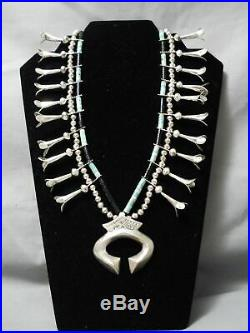 Rare! Vintage Navajo Turquoise Heishi Sterling Silver Squash Blossom Necklace