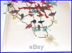 Rare Vtg 5 Strand FETISH Necklace Heishi Bead Turquoise Red Coral MOP Onyx 22