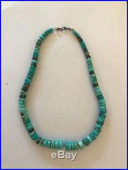 Real navaho turquoise heishi bead 15 vintage necklace hand rolled rare