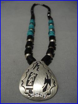 Rising Waterbird Vintage Navajo Turquoise Heishi Sterling Silver Necklace Old
