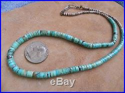Rolled Turquoise, Olive Shell Heishi Necklace 19 Navajo