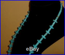 Royston Turquoise Heishi Plus 12.5 MM Rondelles Necklace Sterling