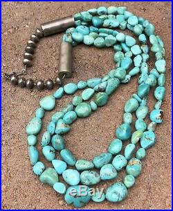 SANTO DOMINGO Navajo Sterling Silver Carico Lake Turquoise Heishi Necklace 32