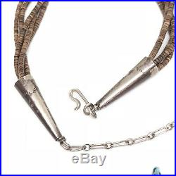SPINY OYSTER Sterling Silver TURQUOISE Heishi Strand Necklace Vintage