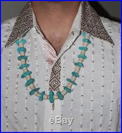 STUNNING VINTAGE Indian BISBEE TURQUOISE HEISHI NECKLACE OLD PAWN 183g Large
