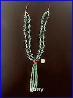 STUNNING VINTAGE NAVAJO NECKLACE TURQUOISE AND HEISHI with JACLAS