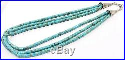 STUNNING Vintage Sterling Silver FEDERICO JIMENEZ Heishi look Turquoise Necklace