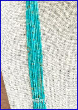 Santo Domingo 10 Strand Natural Turquoise Heishi Bead Silver Necklace 34.5