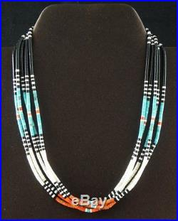 Santo Domingo 16.5 Hand Rolled 5 Strand Shell Heishi Beads Turquoise Jet Coral