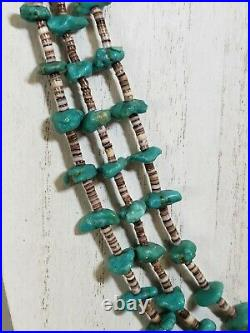 Santo Domingo 3 Strand Turquoise Shell Necklace Heishi Native American Old Pawn