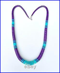 Santo Domingo Blue Turquoise And Sugilite Disk Heishi Bead Necklace 24