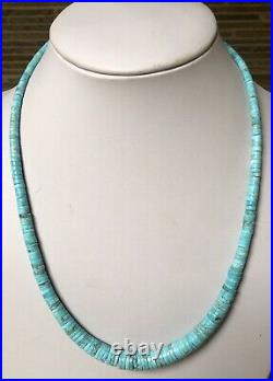 Santo Domingo Graduated Turquoise Heishi Sterling 4-12mm Necklace 19.5